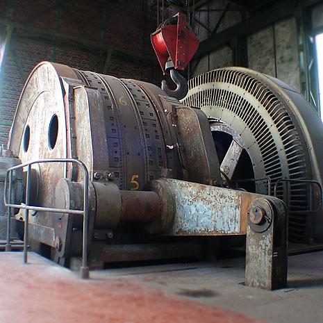Die Fördermaschine auf der 55-m-Ebene